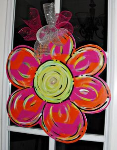 FLOWER pink and orange chevron Wood Cut Out by TheWaywardWhimsy, $35.00