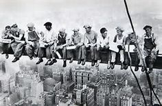 """Photographer Charles Ebbets'  """"Lunch Atop A Skyscraper"""" picture in 1932. He was on the 69th floor of the GE building."""