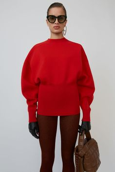 Acne Studios bright red sweater is shaped with dolman sleeves and a wide, ribbed waist. Knitwear Fashion, Knit Fashion, Sweater Fashion, Pullover Design, Sweater Design, Acne Studios, Cozy Sweaters, Sweaters For Women, Stockholm