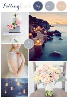 Falling Dusk - A Wedding Inspiration Board in Shades of Twilight Blue and Blush from Hey Wedding Lady
