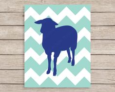 Chevron Sheep Printable Wall Art, 8x10 Farm Animal Nursery Instant Download, Navy Blue and Aqua Chevron Nursery Art, Lamb Digital File- JulesPrintables