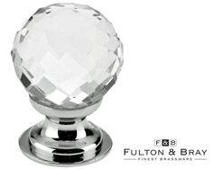 CLEAR FACETED GLASS CUPBOARD KNOBS (25MM OR 30MM), POLISHED CHROME BASE - FCH03CP from The Door Handle Company