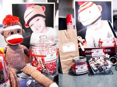 Unbelievably cute Sock Monkey Party by Bethany Chase! Sweet candy and even sweeter decor! Sock Monkey Party, Sock Monkey Birthday, Monkey Birthday Parties, 5th Birthday Party Ideas, Baby Birthday, 1st Birthday Parties, Surprise Birthday, Bob Marley, Inspiration For Kids