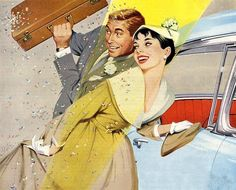 Retro illustration. Just married