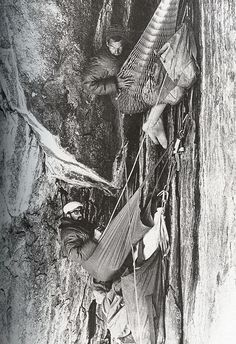 Royal Robbins in 1964 after six days on the North American Wall of El Capitan with Yvon Chouinard, Chuck Pratt and Tom Frost. Description from firstascents.tumblr.com. I searched for this on bing.com/images