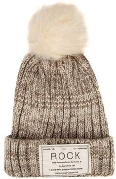 bc7eba2212476 AERUSI Women s Pompom Rock Knit Autumn Winter Beanie  One Size Fits Most    ad