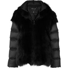 Cara Mila Maira detachable fur jacket (£1,490) ❤ liked on Polyvore featuring outerwear, jackets, black, lightweight jacket, hooded zip up jacket, feather jacket, hooded jacket and light weight jacket