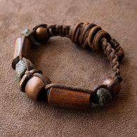 ON SALE Antique African Macrame Bracelet, Ancient Granite, Antique Copper, Elk Antler, Solid Bronze Gray Black and Brown - Etsy