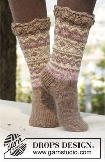 "Knitted DROPS socks with pattern in ""Nepal"". made with worsted weight"