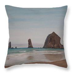 "Cannon Beach Haystack Rock Throw Pillow 14"" x 14"""