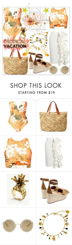 """""""Welcome to Paradise: Tropical Vacation"""" by stylematters61 ❤ liked on Polyvore featuring Brock Collection, Ann Taylor, Valentino, Dolce&Gabbana and Alex Monroe"""