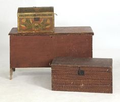 painted blanket chest & decorative painted boxes
