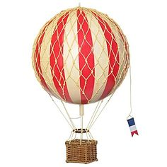 Take your modern décor to new heights with the Royal Aero Hot Air Balloon Model. The ornamental piece is synonymous with adventure and exploration, and comes in a bright red-striped design to adorn any area in your home with decorating flair.