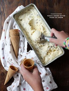 Peach and Brown Butter Pecan Ice Cream | foodiecrush.com