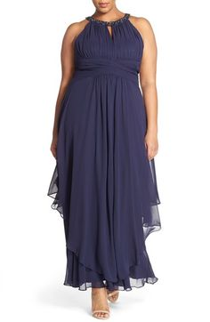 Free shipping and returns on Eliza J Embellished Keyhole Neck Chiffon Gown (Plus Size) at Nordstrom.com. A bead-encrusted collar anchors the pleated, cutaway bodice of a graceful chiffon gown. A tightly shirred band emphasizes the waist before falling into an asymmetrically tiered, gathered skirt in an ankle-grazing length.