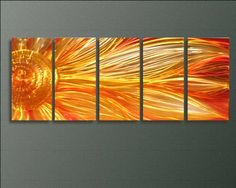 Kitchen - above cabinets? I could paint something like this...  Sunflower - Modern Abstract Decor Metal Wall Art Panels by Donghua
