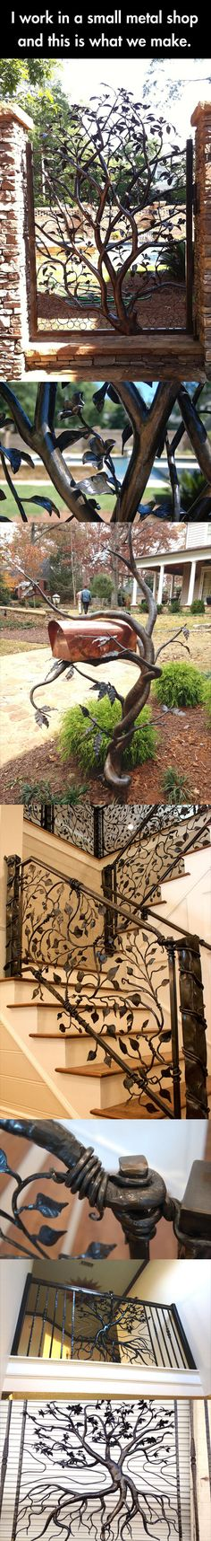 Some incredible metal work… I've pinned this once already but I really love the mailbox so I had to pin it again