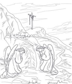 Coloring sheet of the tomb empty tomb printable kids for Coloring pages of jesus empty tomb