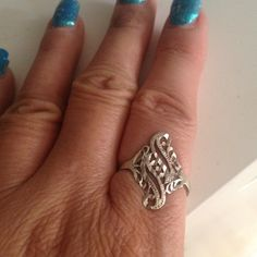 Sterling Silver Ring Diamond-cut vintage Sterling Silver ring. I wore it so much I wore the stamp off. Size: 6 1/2. No trades Vintage Jewelry Rings