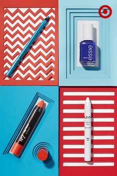 These four beauty picks are all you'll need for a chic look on the Fourth of July. Start with NYX eye pencils in white and azure. Use white on the bottom lid and inner corners to make eyes look brighter. Then define the bottom lid with azure, staying close to the lash line. Add red to your look with poppy-colored Boots No. 7 Lip Crayon in Tickle. Then finish with a few coats of blue polish from essie. Hint: keep your nails simple for an easy mani/pedi that works long after the holiday.