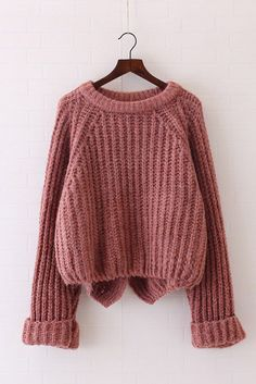 Pure Color Long Sleeves Irregular Loose Sweater The Effective Pictures We Offer You About french Knitting A quality picture can tell you many things. Pullover Outfit, Jugend Mode Outfits, Knitting Blogs, Sweater Making, Loose Sweater, Mode Vintage, Cute Sweaters, Teen Fashion Outfits, Sweater Outfits