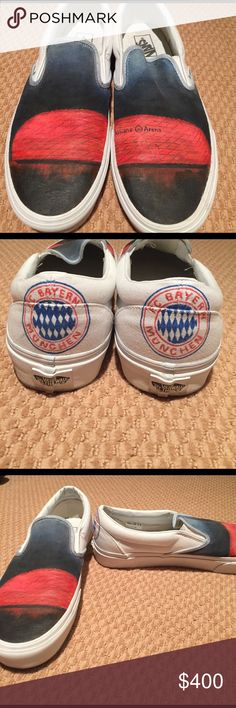 Allianz Arena and Bayern Munich shoes Hand pained shoes depicting the Allianz arena at night with the Bayern Munich crest on each heel. These shoes have been worn once and are completely one of a kind. Painted and sealed, the design will not fade or come off. Would love to see them to go to a good home. Price negotiable Vans Shoes Sneakers