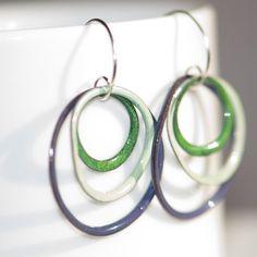 Triple+Hoop+Enamel+Earrings+Copper+Glass+Enamel+by+BloomingEnamels,+$32.00