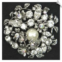 Vintage Style Silvertone Brooch Accented with Clear Rhinestones & Faux Pearl ( can be worn as pendant) $20 @  www.whimzgirlbrooches.com
