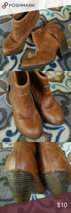 Distressed Cognac Ankle Booties These are awesome booties! Just a little too small for me. I definitely got a lot of wear out of them prepregnancy. They have a great vintage look to them. Used condition. The size has worn off but they are a 7.5. Qupid Shoes Ankle Boots & Booties
