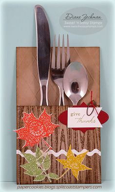 give thanks Silverware Pocket