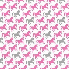 """Pretty Horses White/Pink Soft Cotton Flannel, 43"""" By The Yard"""