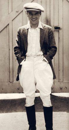 in riding clothes at Chaplin Studios circa 1918.