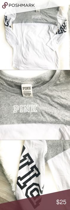 Victoria's Secret PINK Perfect Boyfriend Tee EUC! VS PINK Perfect Boyfriend Tee. 3/4 sleeve. White and gray. Black PINK logo on sleeves. Size XS. No flaws PINK Victoria's Secret Tops