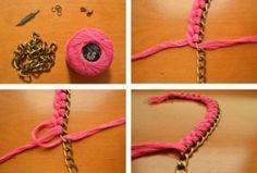 Fácil este collar con cadena y cintas!