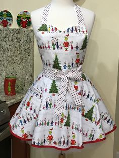 Grinch Whoville Stripe Christmas Flouncy Apron or Apron and Mask Combination Christmas Aprons, Christmas Fabric, Christmas Gifts, The Grinch Movie, Half Apron, Polka Dot Fabric, Stripe Skirt, Fashion Face Mask, Ugly Sweater