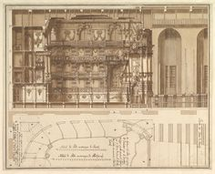 Assistant of Francesco Galli Bibiena | Designs for the Theater at Nancy: Longitudinal Section and Half Ground Plan | The Metropolitan Museum of Art