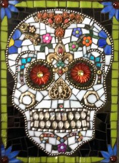 Sugar Skull Mosaic, Day of Dead,  by Naomi Craig