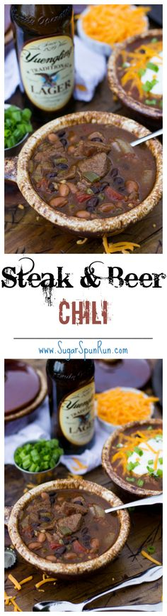 Beer Steak Chili -- a great Gameday chili recipe to have on hand SugarSpunRun