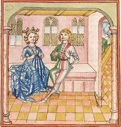 Elisabeth <Nassau-Saarbrücken, Gräfin, 1393-1456> Herpin — Stuttgart (?) - Werkstatt Ludwig Henfflin, um 1470 Cod. Pal. germ. 152 Folio 32r