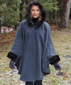 Parkhurst Charcoal & Cobblestone Helena Hooded Faux Fur Cape - Women by Parkhurst #zulily #zulilyfinds