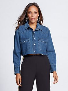 5406bfae25 Crop Denim Shirt - Gabrielle Union Collection