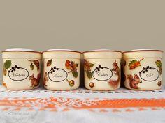 Autumn jars (for tea, coffee, sugar and salt) Wood Home Decor, House In The Woods, Decoupage, Sugar, Autumn, Coffee, Tableware, Fall, Coffee Cafe