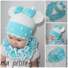 "Clothing for girls, handmade. Fair Masters - handmade cap for girls ""Minnie turquoise."" Handmade."