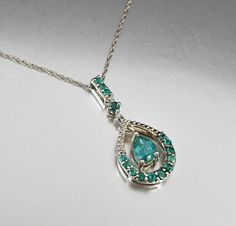 Vintage Sterling Silver Emerald Pendant Necklace
