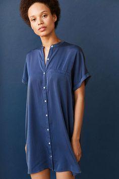 Silence + Noise Satin Mini Shirt Dress