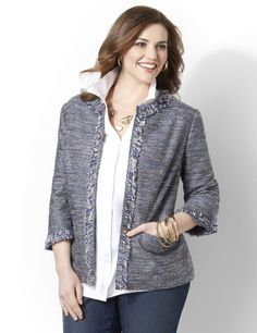 Statement jacket with flattering princess seams is ideal for casual Fridays from Catherine's. #womensfashion2014 #casual #jackets