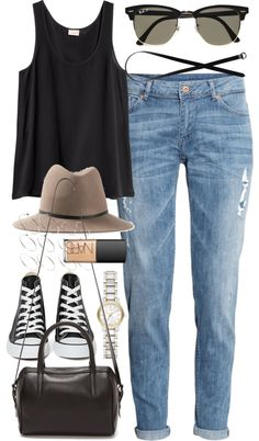 Outfit for a casual date by ferned featuring converse high topsH M black shirt, 21 AUD / H&M blue jeans, 32 AUD / Converse high top, 95 AUD / Reece Hudson Bowery Small Duffel Bag, 1 075 AUD / Burberry gold bracelet, 805 AUD / ASOS ring / Janessa Leone floppy hat, 345 AUD / Monki black belt, 18 AUD / Ray-BanClubmaster Sunglasses|MR PORTER, 325 AUD / Nars cosmetic, 65 AUD