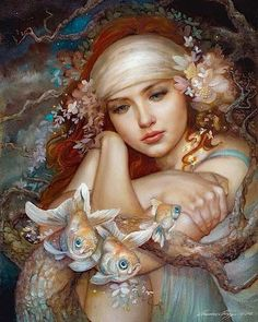 """The Owl Maiden oils on board June 2012 Here is the second piece of my """"women in mythology"""" series. In Welsh mythology, Blodeuwedd is the spr. The Owl Maiden Art And Illustration, Fantasy World, Fantasy Art, Earth Design, Merfolk, Wow Art, Mermaid Art, Pics Art, Sea Creatures"""