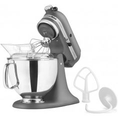 grey kitchenaid stand mixer.