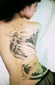 Constanza and her Japanese crane tattoo
